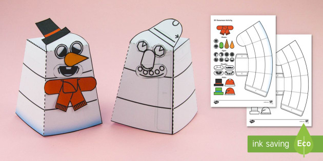 Build Your Own Simple 3D Christmas Snowman Activity Paper Craft