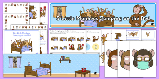 Five Little Monkeys Jumping on the Bed Resource Pack - five little monkeys, nursery rhyme, resource pack