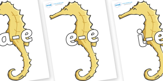 Modifying E Letters on Seahorses - Modifying E, letters, modify, Phase 5, Phase five, alternative spellings for phonemes, DfES letters and Sounds
