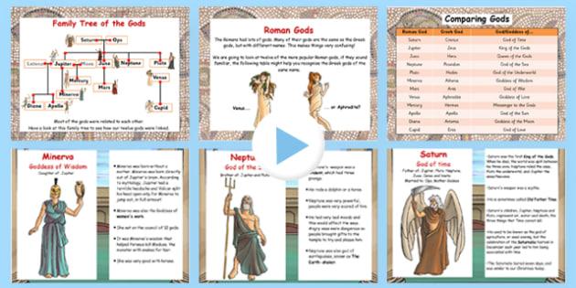 Roman Gods Information Flipchart - romans, gods, history, info