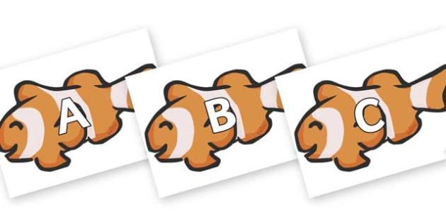 A-Z Alphabet on Clown Fish - A-Z, A4, display, Alphabet frieze, Display letters, Letter posters, A-Z letters, Alphabet flashcards