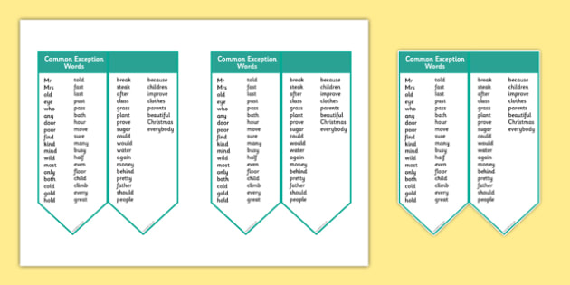 Editable Common Exception Words Year 2 Bookmark - editable, common exception words, year 2, bookmark