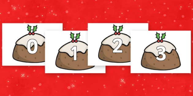 Numbers 0-30 on Christmas Puddings - Christmas, xmas, pudding, advent, nativity, santa, father christmas, Jesus, tree, stocking, present, activity, cracker, angel, snowman, advent , bauble, Foundation Numeracy, Number recognition, Number flashcards,
