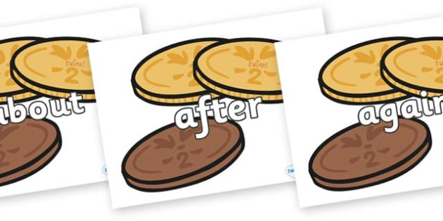 KS1 Keywords on Chocolate Coins - KS1, CLL, Communication language and literacy, Display, Key words, high frequency words, foundation stage literacy, DfES Letters and Sounds, Letters and Sounds, spelling