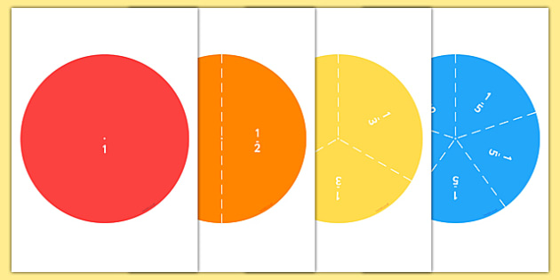 Fraction Circle Puzzles - fractions, numeracy games, math games, Fraction, whole, part, half, third, quarter, fifth, sixth, seventh, eighth, ninth, tenth