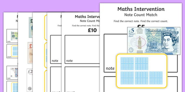 Maths Intervention Note Match Counting - SEN, special needs, maths, money, counting money, recognising money, adding money, coins, notes