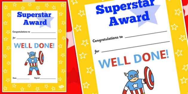 Super Star Award Decorative Certificate - certificate, super star