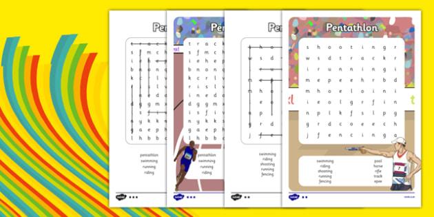 The Olympics Pentathlon Word Search - the olympics, rio 2016, rio olympics, 2016 olympics, pentathlon, word search
