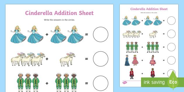 Cinderella Addition Sheets - cinderella, addition, sheets, addition sheets, cinderella addition, cinderella worksheet, addition worksheet, maths, numeracy