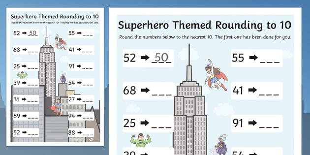 Superhero Themed Rounding To 10 Worksheet - Superhero, Hero, 10