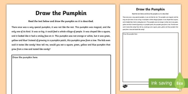 Draw the Pumpkin Activity Sheet