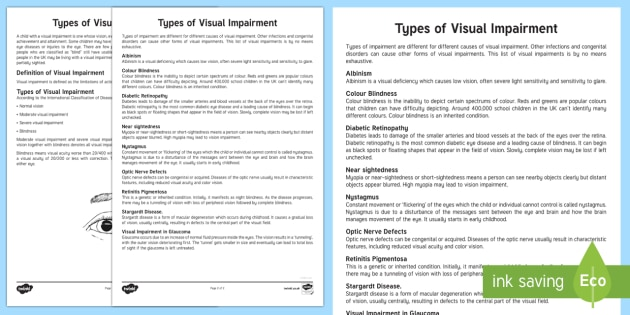 Types of Visual Impairment Adult Guidance - Visual Impairment, VI, Sensory Impairment, Special Educational Needs, Moon, Braille, Support strateg