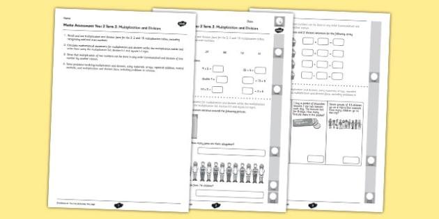 Year 2 Maths Assessment Number Multiplication and Division Term 2 - year 2, maths, assessment, number, multiplication, division, term 2