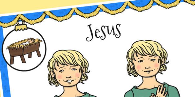 A4 British Sign Language Sign for Jesus Left Handed - jesus, left