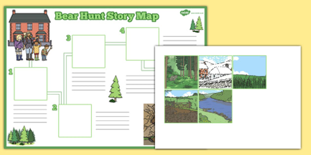 Bear Hunt Story Map Activity Sheet Pack - bear hunt, story, map, activity, worksheet