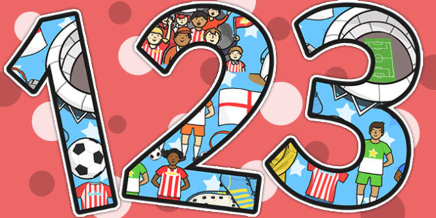 Football World Cup Themed Display Numbers - football, sports