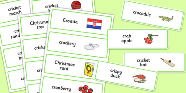 Three Syllable CR Word Cards - three syllable, cr, word cards, word, cards, cr sound