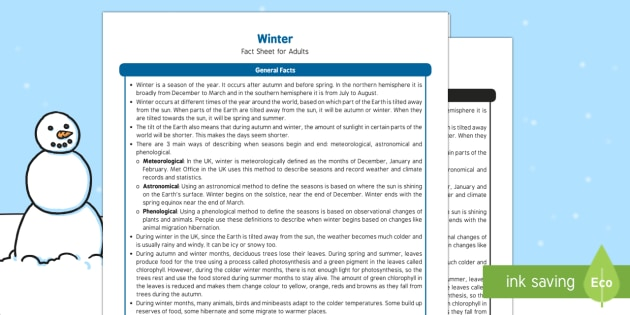 Winter Fact Sheet for Adults - EYFS, Early Years, KS1, Key Stage 1, seasons, snow, Christmas