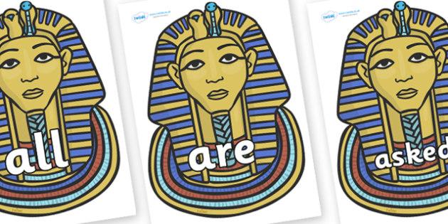 Tricky Words on Mummy Masks - Tricky words, DfES Letters and Sounds, Letters and sounds, display, words