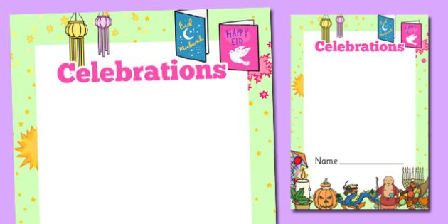 Celebrations Themed Workbook Cover - festivals, celebrate