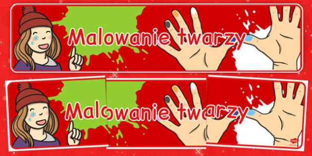 Świąteczny banner Malowanie twarzy po polsku - kiermasz