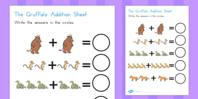 The Gruffalo Addition Sheet - australia, gruffalo, addition