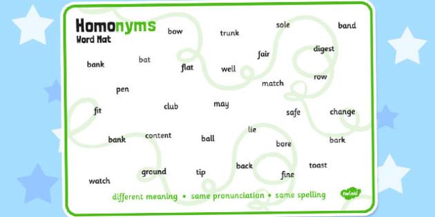 Homonyms Word Mat - homonym, example, words, word, mat, aid