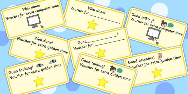 Reward Vouchers - rewards, awards, praise, behaviour management