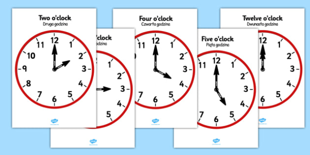Analogue Clocks Hourly Polish Translation - polish, Time resource, Time vocaublary, clock face, O'clock, half past, quarter past, quarter to, shapes spaces measures