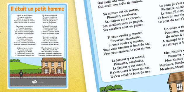 Comptine Il était un petit homme Lyric Sheet French - french, comptine, il etait un petit homme, lyric sheet