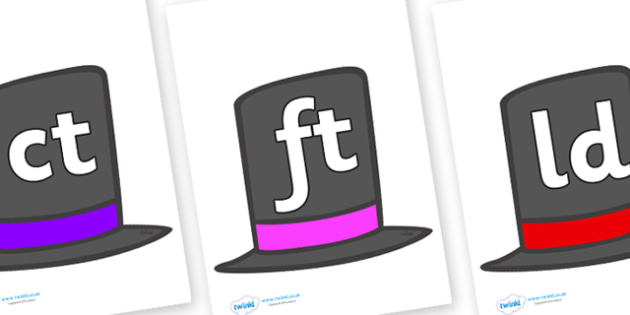 Final Letter Blends on Top Hats - Final Letters, final letter, letter blend, letter blends, consonant, consonants, digraph, trigraph, literacy, alphabet, letters, foundation stage literacy