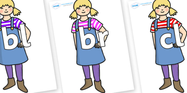 Initial Letter Blends on Little Girl - Initial Letters, initial letter, letter blend, letter blends, consonant, consonants, digraph, trigraph, literacy, alphabet, letters, foundation stage literacy