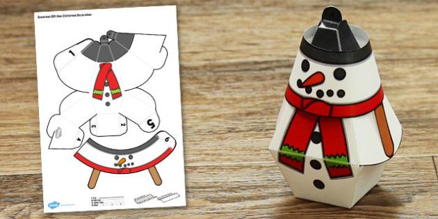 Snowman Gift Box Christmas Decoration - snowman, gift box, christmas, decoration, craft, paper