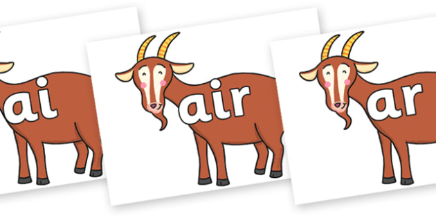 Phase 3 Phonemes on Hullabaloo Goat to Support Teaching on Farmyard Hullabaloo - Phonemes, phoneme, Phase 3, Phase three, Foundation, Literacy, Letters and Sounds, DfES, display