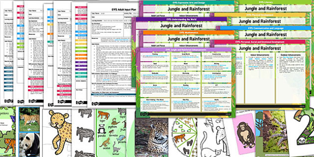 EYFS Jungle and Rainforest Themed Bumper Planning Pack - jungle
