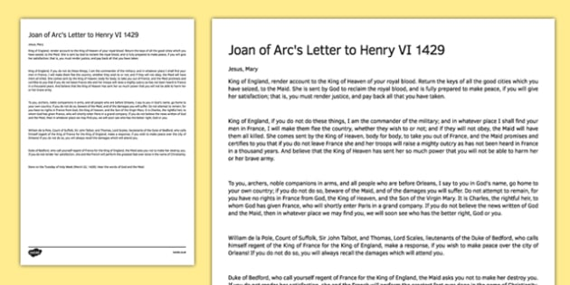 Joan of Arc's Letter to Henry VI 1429 Print Out - joan of arc, letter, henry vi, 1429, print out