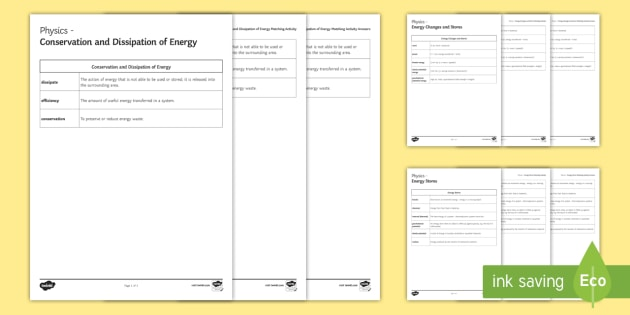 Energy Glossary Activity - KS4 Glossary, Physics, Energy, Energy Stores, Kinetic, Thermal, Chemical, Gravitational Potential en
