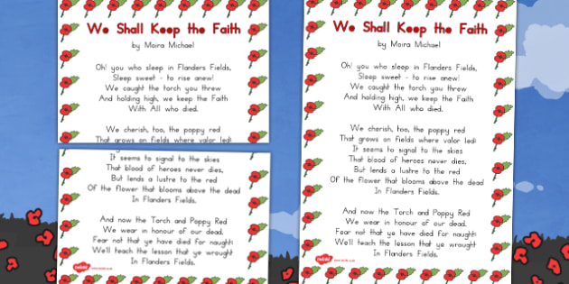 Remembrance Day Poem We Shall Keep The Faith Poster - australia