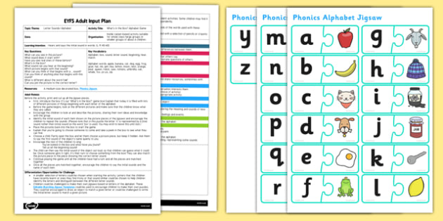 EYFS What's in the Box? Alphabet Game Adult Plan and Resource Pack - EYFS, Early Years planning, adult led, weather, song, rhyme
