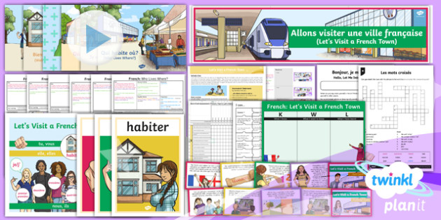 French: Let's Visit a French Town Year 6 Unit Pack