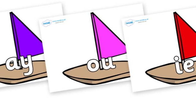 Phase 5 Phonemes on Toy Boats - Phonemes, phoneme, Phase 5, Phase five, Foundation, Literacy, Letters and Sounds, DfES, display
