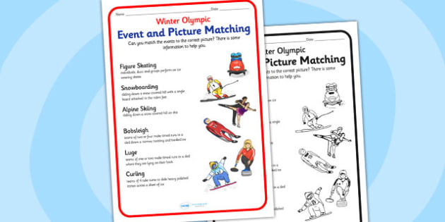 Winter Olympics Event And Picture Matching Worksheet - olympics