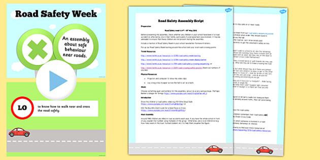 Road Safety Assembly Script and PowerPoint - assembly, road