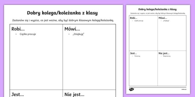 Karta Dobry klasowy kolega po polsku, worksheet