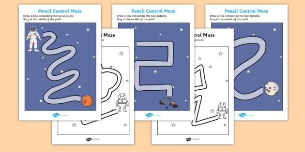 Space Themed Pencil Control Maze Activity Sheets - space, pencil control, maze, worksheets, space worksheet, pencil control worksheet, space maze, pencil