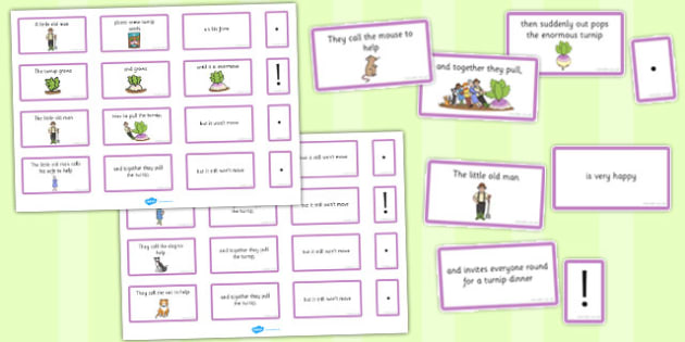 The Enormous Turnip Sentence Building Cards - enormous turnip