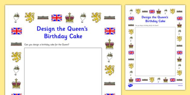 Design the Queen's Birthday Cake Activity Sheet, worksheet