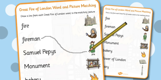 The Great Fire of London Word and Picture Matching Worksheet