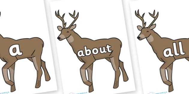 100 High Frequency Words on Stags - High frequency words, hfw, DfES Letters and Sounds, Letters and Sounds, display words