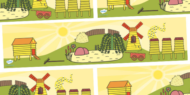 Small World Background to Support Teaching on Rosie's Walk - Rosie's Walk, story, Pat Hutchins, book, resources, writing aid, cards, flaschards, Rosie, fox, farm, story book, story resources, Rosie Walk